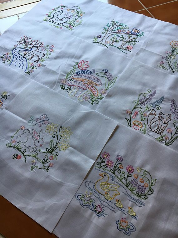 Modern vintage woodland animals embroidered quilt blocks ready to 9 Modern Embroidered Quilt Patterns Inspirations
