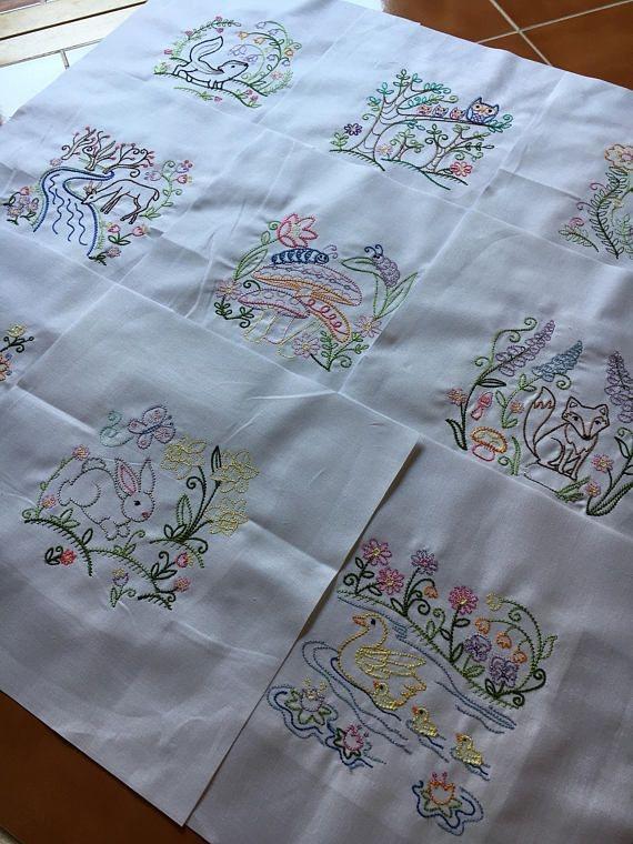 Modern vintage woodland animals embroidered quilt blocks ready to 9 Modern Embroidered Quilt Patterns Inspirations