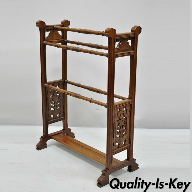 New antique american eastlake victorian carved walnut towel rack quilt rack stand Elegant Vintage Quilt Rack