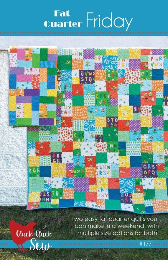 New fat quarter friday quilt pattern 177 cluck cluck sew two different patterns in 5 sizes fat quarters or strips project w4972 Cozy Quilt Patterns With Fat Quarters Gallery