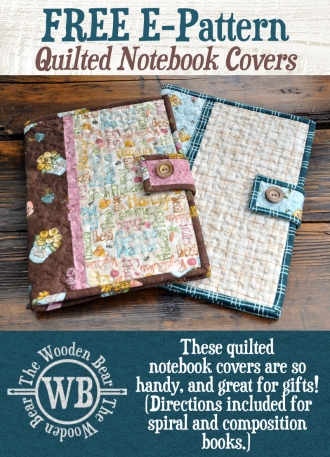 New free downloadable quilted notebook pattern from the wooden 10 Modern Quilted Book Cover Pattern