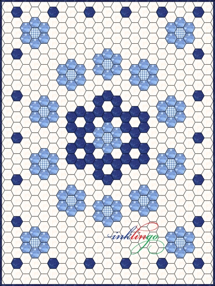 New inklingo hexagons in electric quilt all about inklingo blog Cool Hexagon Quilt Patterns Designs