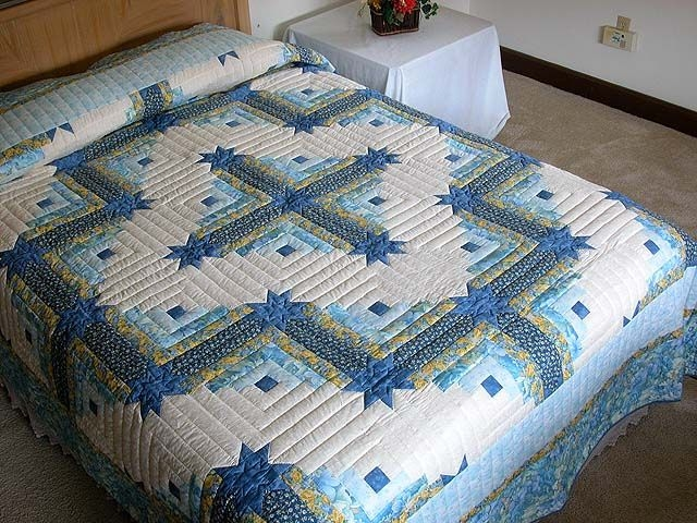 New king size log cabin star quilt pattern blue and yellow 9 Beautiful Colorado Log Cabin Quilt Pattern Inspirations