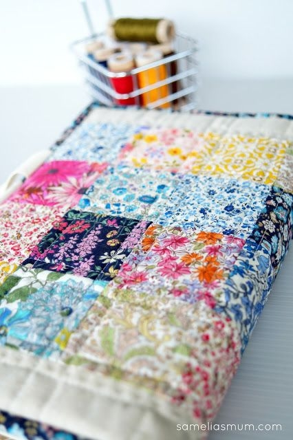 New quilted book bag cover tutorial sameliasmum book 10 Modern Quilted Book Cover Pattern