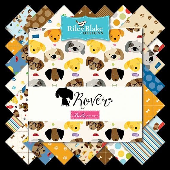 New rover 5 inch stacker charm pack dog themed quilt 11 Cool Fresh Dog Themed Quilting Fabric Inspiration