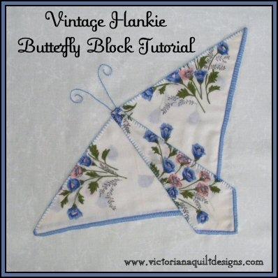 New vintage hankie butterfly block quilt pattern tutorial from 9 New Handkerchief Quilt Patterns
