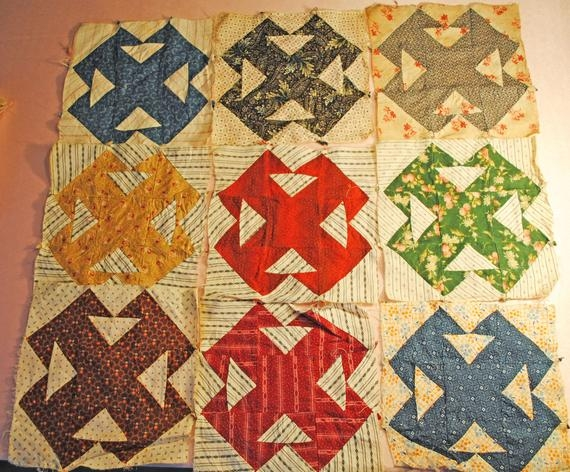 New vintage quilt double t square blocks 31 hand stitched quilt squares 1930s 9 Stylish Vintage Hand Stitched Quilts