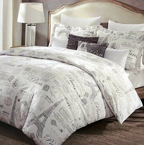 robot check paris themed bedroom queen size comforter 9 New Vintage Quilt Cover Gallery