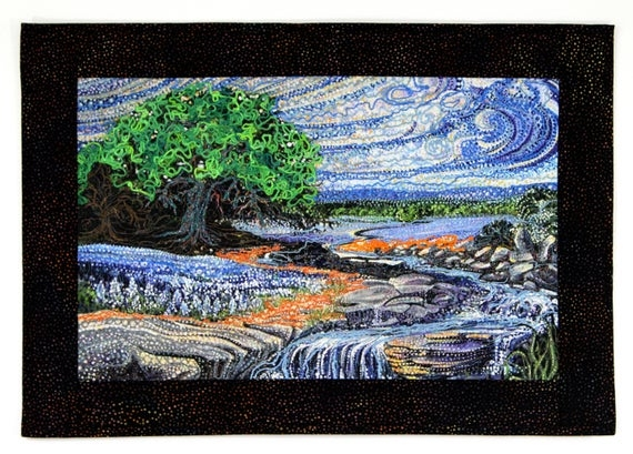 Stylish art quilt wall decor vincent van gogh style wall hanging landscape waterfall cottage decor quilted office decor blue green mixed media Interesting Elegant Van Gogh Quilting Fabric Ideas Gallery