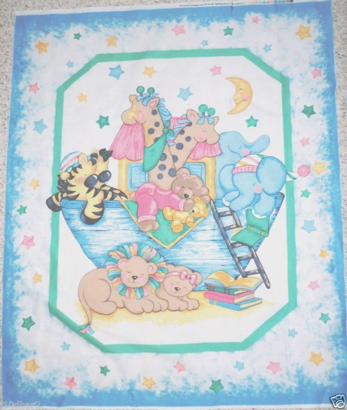 Stylish ba quilt panels two noahs ark fabric panel cotton 9 Cool Baby Quilt Panel Fabric