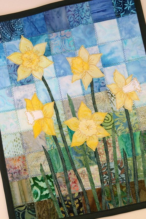 Stylish batik daffodil quilted wall hanging art quilt pattern or 11 Cool Patterns For Quilted Wall Hangings Gallery
