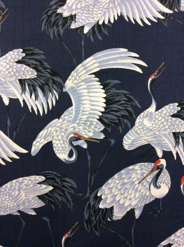 Stylish cranes elegant white birds on navy wings cotton fabric quilt 11 Cozy Elegant Japanese Fabric Quilt Ideas Gallery