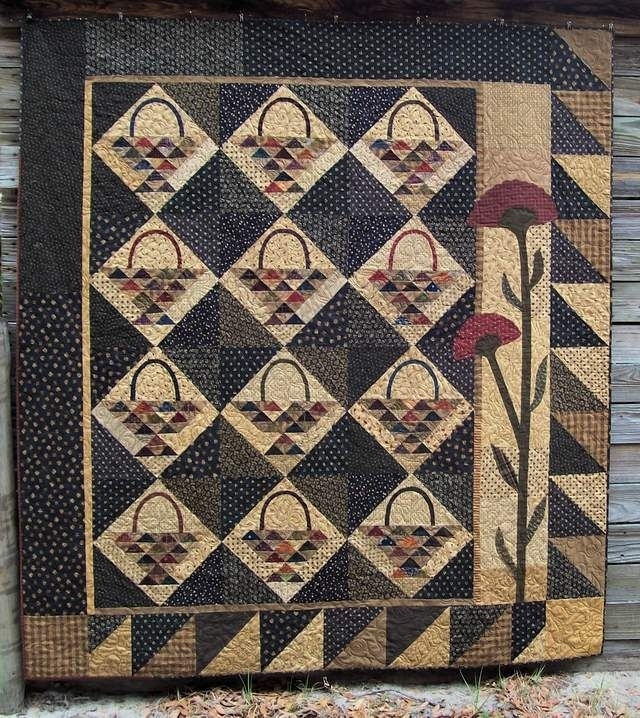 Stylish gathering baskets from primitive pieces lynda quilts Cozy Country Primitive Quilt Patterns Inspirations