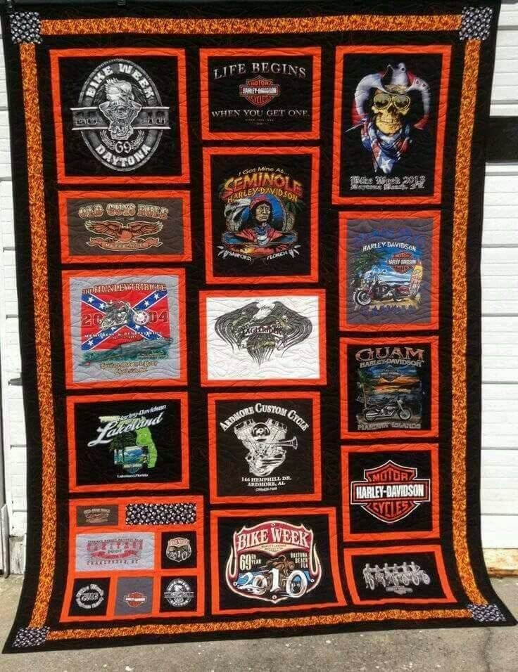 Stylish harley davidson quilt made from t shirts tee shirt 10 Elegant Harley Davidson Quilt Patterns Inspirations