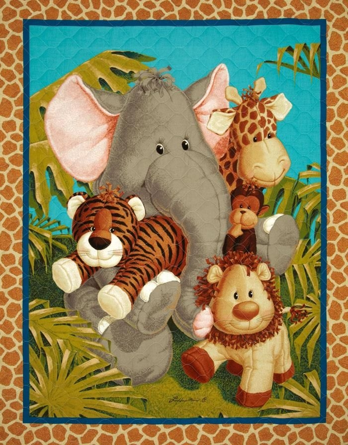 Stylish jungle babies double sided quilted panel multi from 11 Cozy Beautiful Pre Quilted Baby Fabric Inspiration Gallery