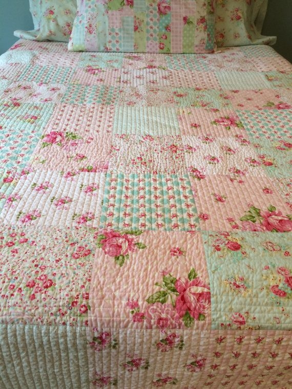 Stylish shab chic quilt made to order tanya whelan quilt floral 11 New Shabby Chic Quilt Patterns Inspirations