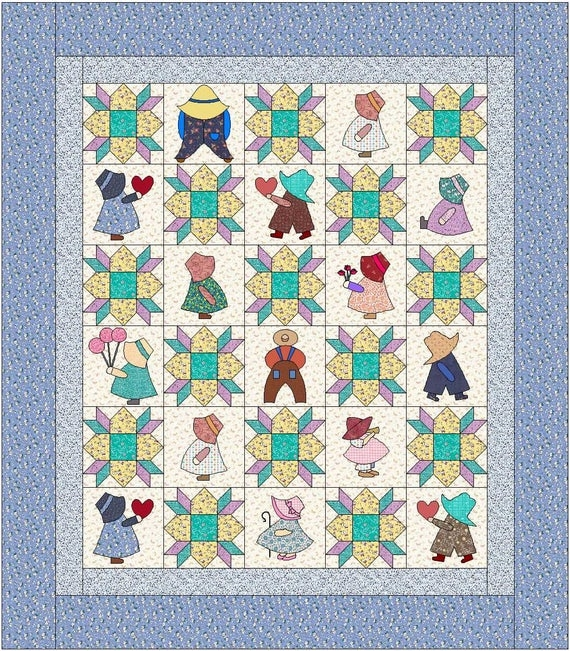 sunbonnet sue quilt pattern instant download pdf quilt is 84 x 96 full size Cozy Sunbonnet Sue Quilt Patterns Inspirations