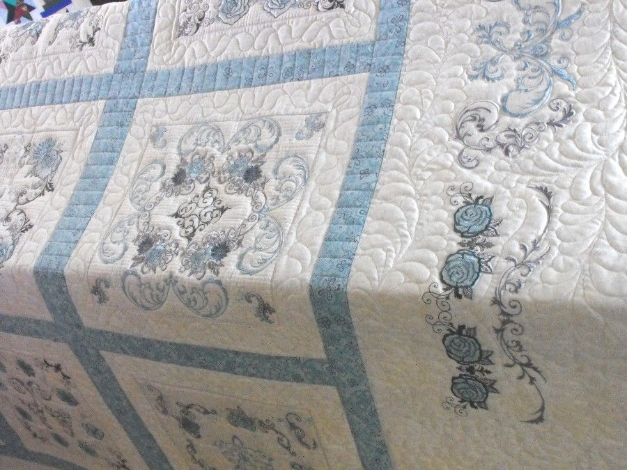 Unique charm grace customer quilt machine embroidery quilts 9 Modern Embroidered Quilt Patterns Inspirations
