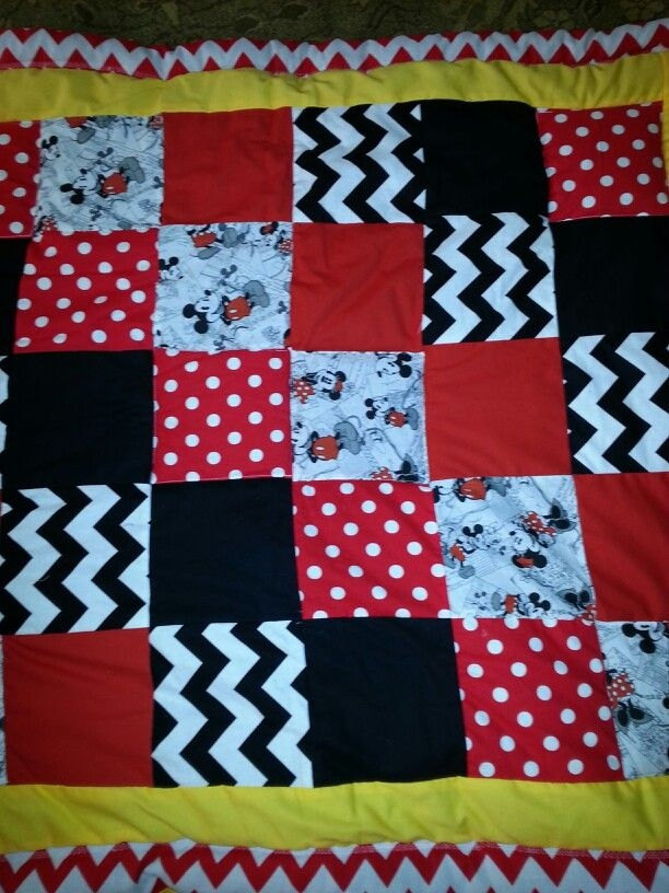 Unique diy ba blanket square mickey mouse quilt mickey mouse 9 Cool Mickey Mouse Quilt Pattern
