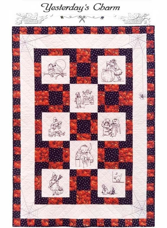 Unique halloween pattern hand embroidery quilt pattern 42 x 52 sewing fall quilting blackwork redwork 10 Cool Hand Embroidery Quilt Patterns