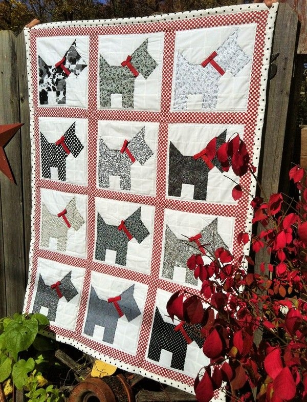 Unique november 12 featured quilts on dog quilts scottie dog 9 Beautiful Scottie Dog Quilt Pattern Gallery