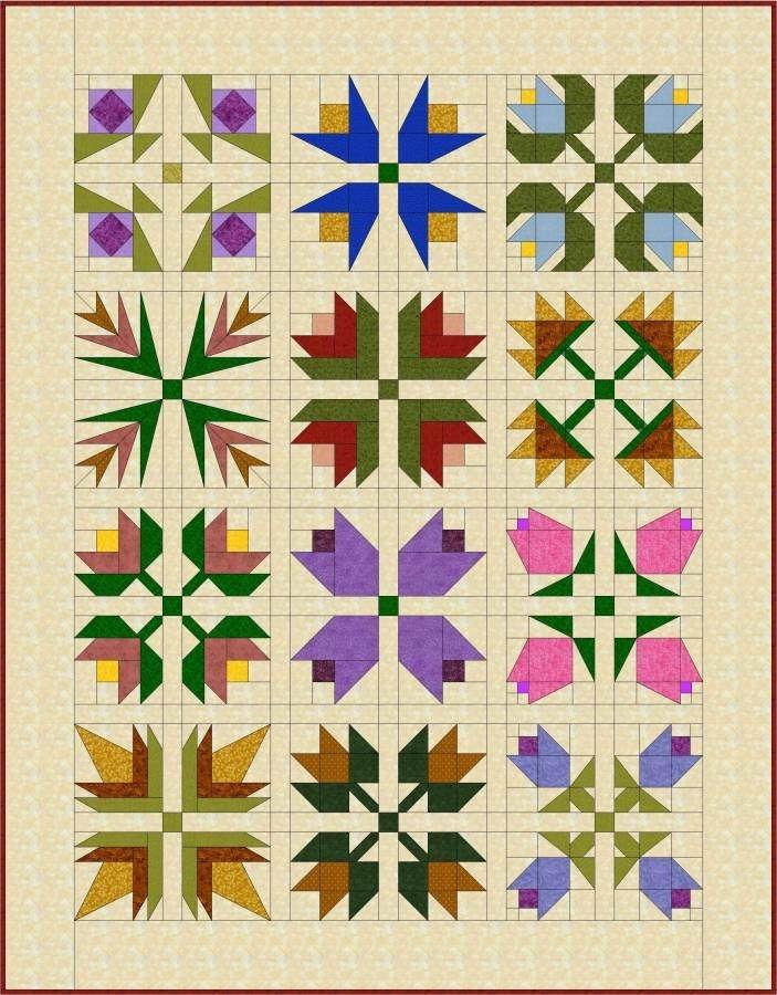Unique pieced flowers 703900 flower quilt patterns floral 10 Interesting Flower Patchwork Quilt Patterns