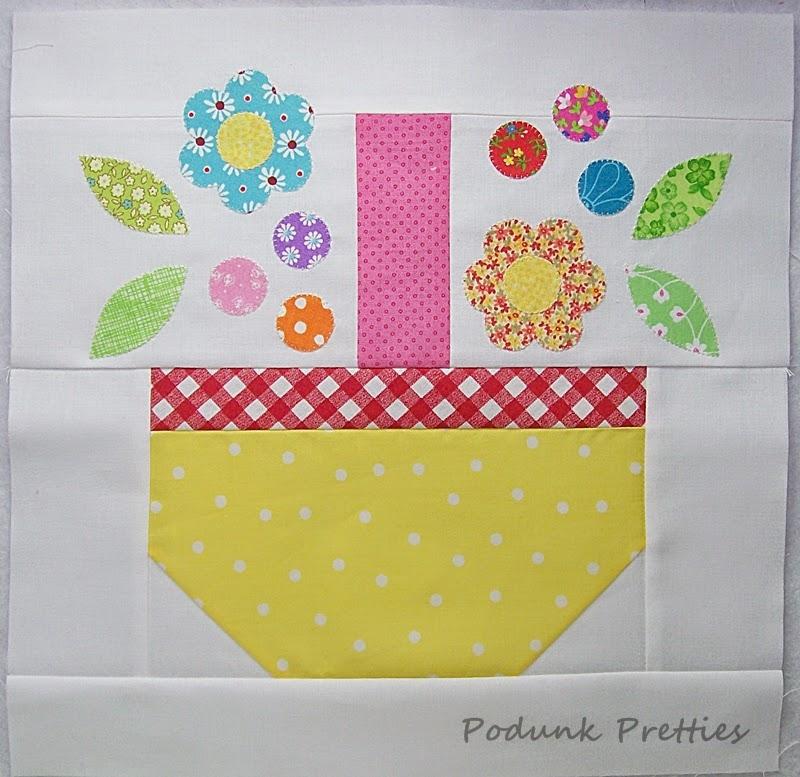 Unique podunk pretties scrappy spring basket quilt block tutorial 11 Interesting Basket Quilt Block Patterns Inspirations