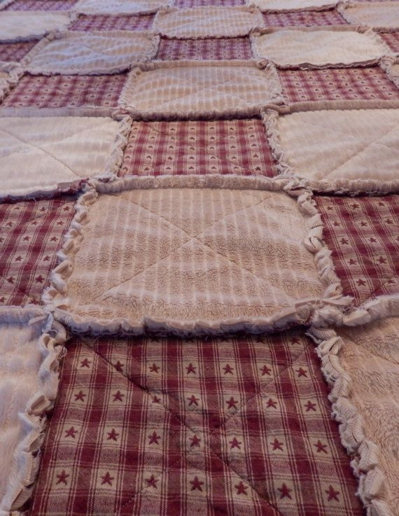 Unique primitive rag quilts queen rag quilt primitive country red Cozy Country Primitive Quilt Patterns Inspirations