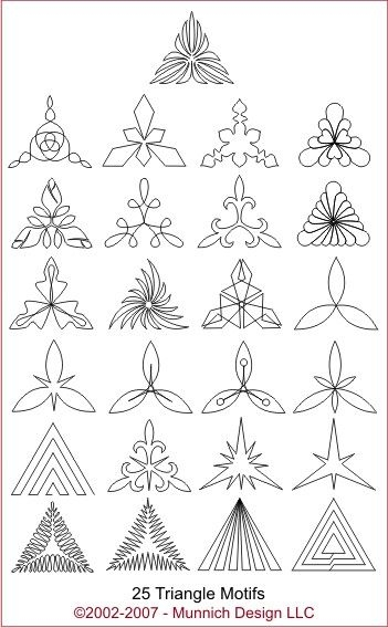 Unique quilt patterns triangle quilting stitch patterns free Elegant Triangle Quilt Template