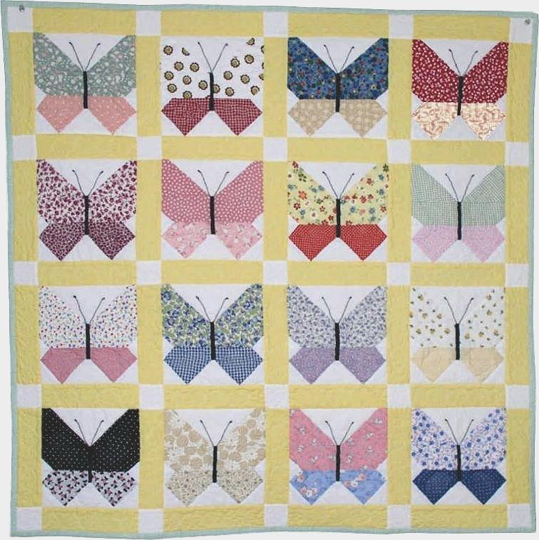 Unique retro fabrics are lovely in this butterfly quilt quilting 10 Unique Butterfly Quilt Pattern Block