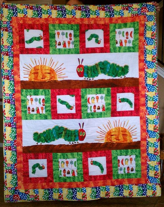 Unique very hungry caterpillar quilted throw maryannewiley on 11 Beautiful Very Hungry Caterpillar Quilt Pattern Gallery