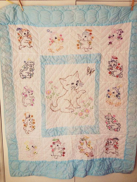 Unique vintage ba quilt embroidered ba quilt cat 9 Stylish Vintage Baby Quilt Inspirations