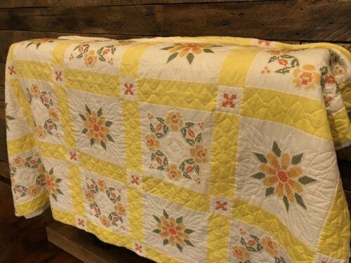 Unique vintage floral quilt country primitive hand sewn stitched 9 Interesting Vintage Floral Quilts Gallery