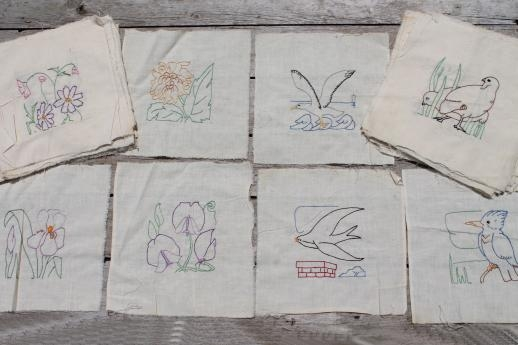 vintage album quilt blocks hand stitched embroidered cotton 10 Stylish Vintage Embroidered Quilt Blocks