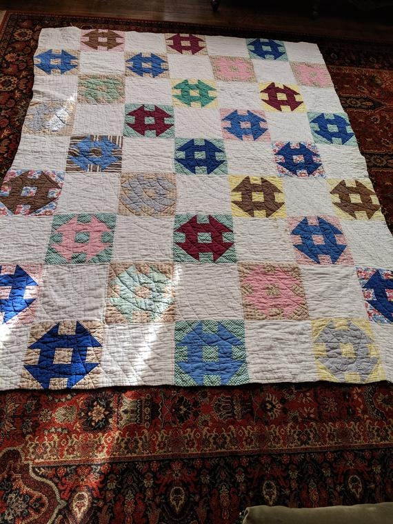 vintage churn dash patchwork quilt 10 Beautiful Vintage Churn Dash Quilt Pattern Inspirations