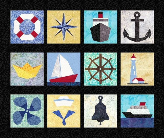 Beautiful 12 nautical quilt block patterns boats ships anchor 9 Stylish Nautical Quilts Patterns Gallery