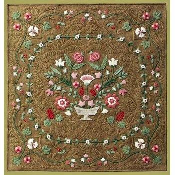Beautiful antique flower garden wool applique quilt pattern Cool Antique Applique Quilt Patterns