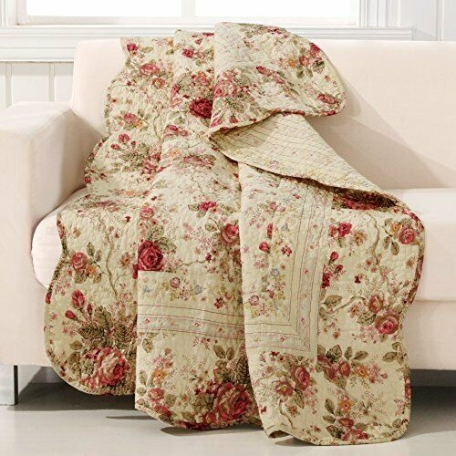 Beautiful antique rose quilted patchwork throw multicolor Beautiful Vintage Floral Quilted Throw Inspirations