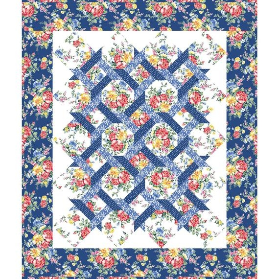 Beautiful cherry lemonade garden twist quilt pattern in the beginning fabrics itbclgtp blue flowers yellow red Cozy Garden Twist Quilt Pattern Inspirations