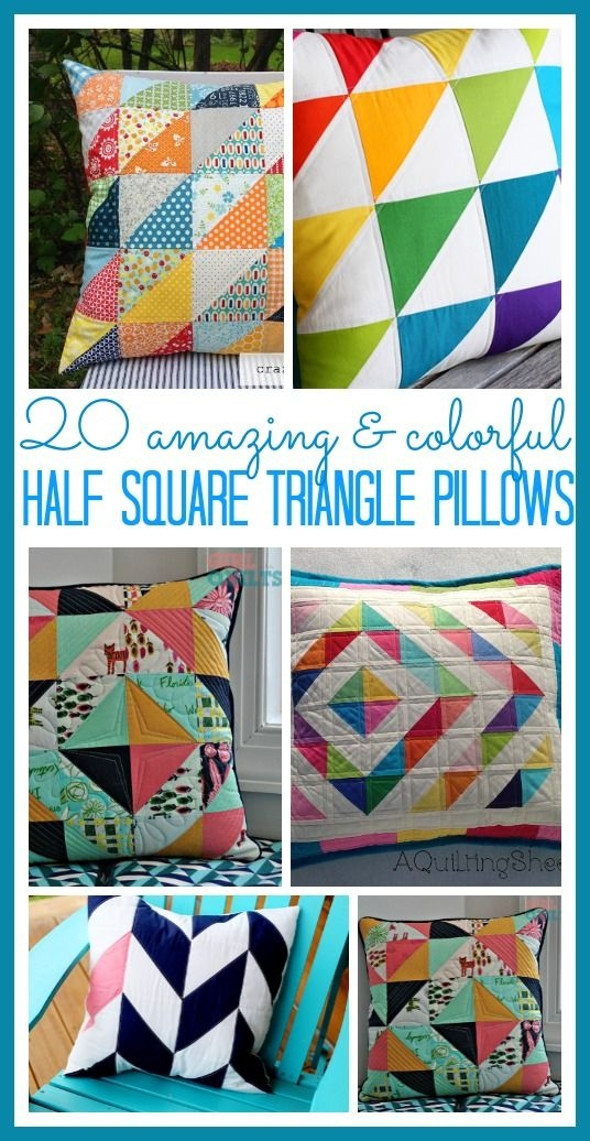 Beautiful half square triangle pillow round up sugar bee crafts 9 Modern Triangle Quilt Patterns For Beginners Inspirations