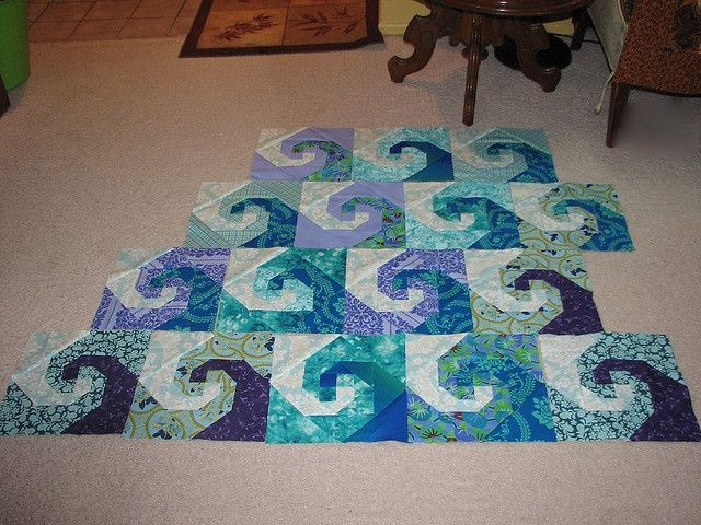 Beautiful ocean waves quilt ocean waves quilt ocean quilt nautical Cool Beach Themed Quilt Patterns