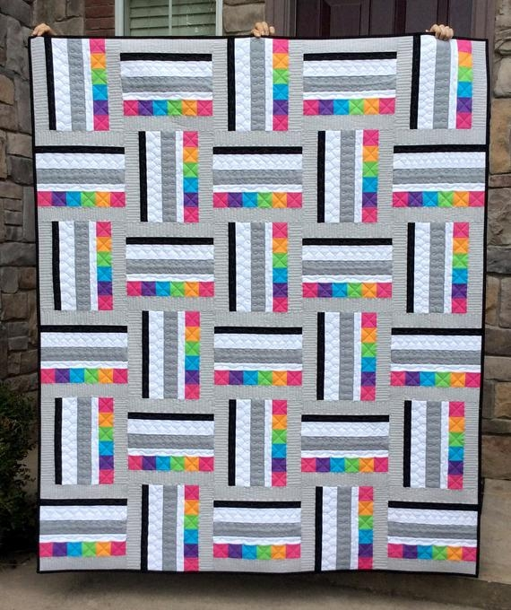 Beautiful sweetart quilt pattern pdf modern quilt pattern quick easy simple beginner quilt 2 sizes in lap and twin strip piecing 11 Modern Easy Modern Quilt Patterns