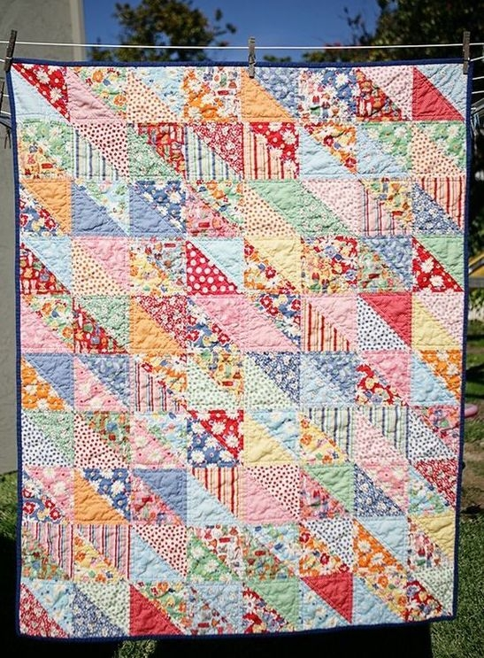 Beautiful the red feedsack scrappy half square triangle quilt block 9 Beautiful Triangle Patchwork Quilt Gallery