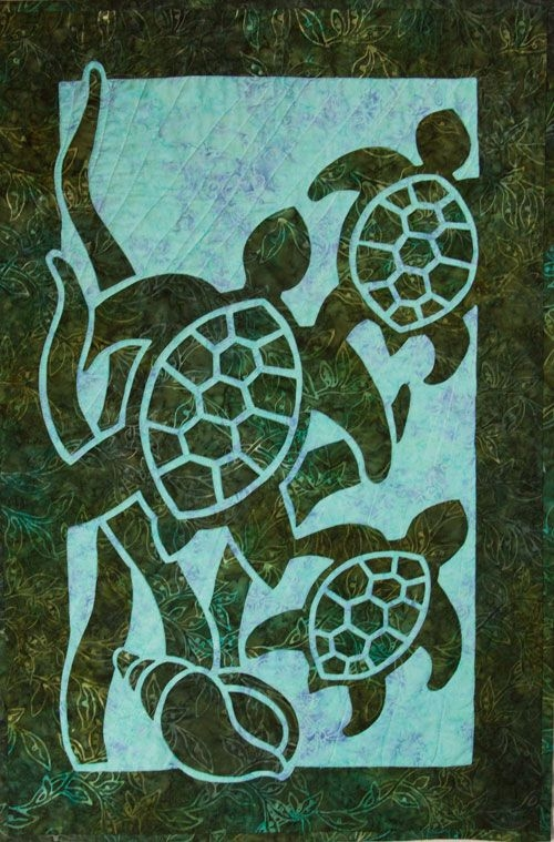 Beautiful turtle beach 2 fabric applique quilt pattern hawaiian 10   Hawaiian Sea Turtle Quilt Patterns