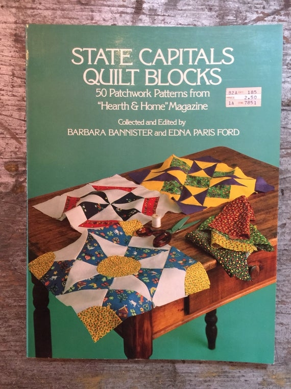 Beautiful vintage 1977 dover state capitals quilt blocks pattern book barbara bannister edna paris ford 9 Beautiful Vintage Quilt Blocks State By State Gallery