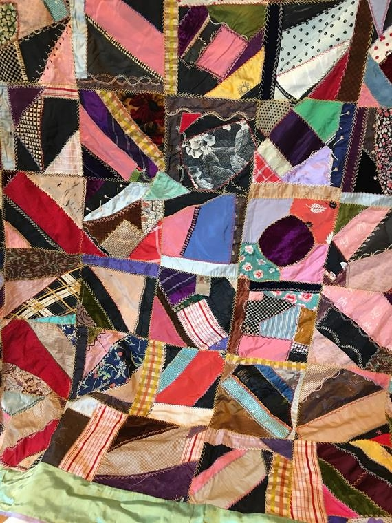 Beautiful vintage crazy quilt 72 x 75 green and lavender and multi colored crazy quilt fancy embroidered stitches to detail pinks and browns Modern Vintage Crazy Quilt Inspirations