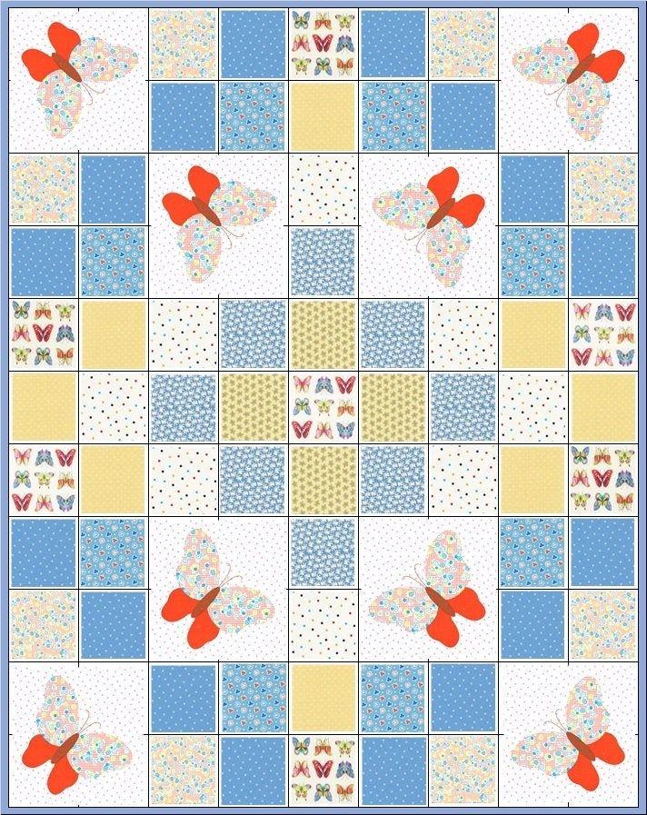 bunnies and butterfliesprecut quilt kitlittle boy or ba 10   Stylish Baby Quilt Kits Joann Fabrics Inspirations