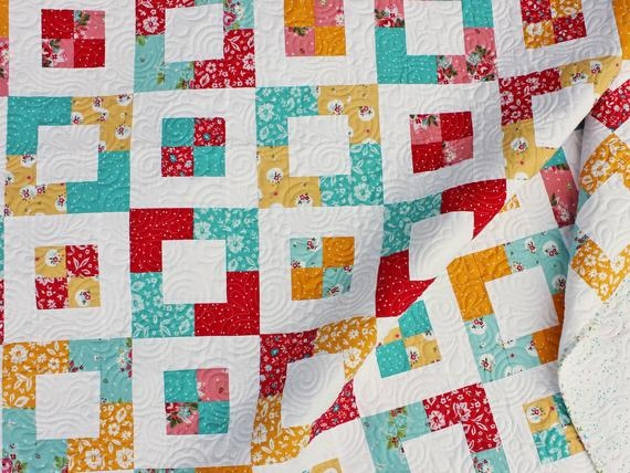 Cool market square quilt pattern easy jelly roll quilt pattern in three sizes ba quilt throw quilt and twin quilt 10 Interesting Easy Square Quilt Patterns Gallery