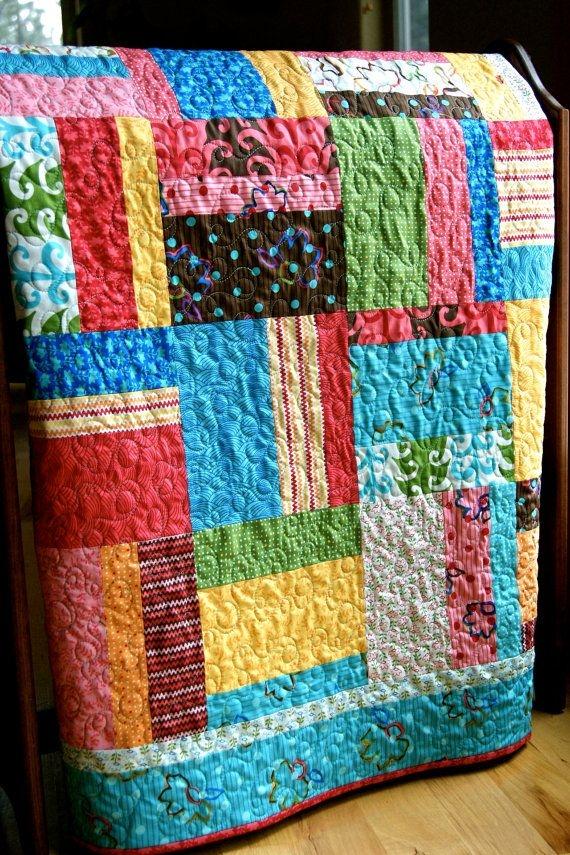 Cool playful fingerpaints handmade ba toddler quilt etsy Unique Random Patchwork Quilt Pattern Gallery