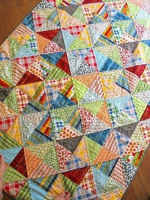 Cool scrappy half square triangle quilt triangle quilt half Interesting Scrappy Half Square Triangle Quilt Patterns Gallery